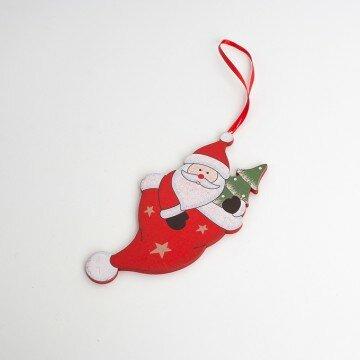 """Подвеска деревянная """"Дед Мороз в шапочке"""" 14 см"""