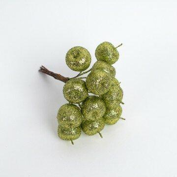 Яблочки в блестках зелёные в пучке