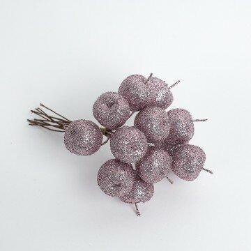 Яблочки в блестках розовые в пучке
