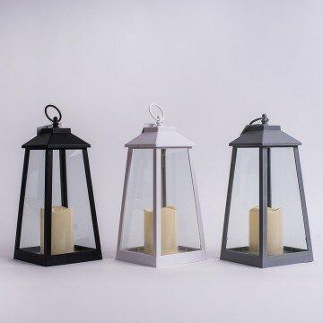 Фонарь декоративный с LED свечей 30х14х14см белый и серый
