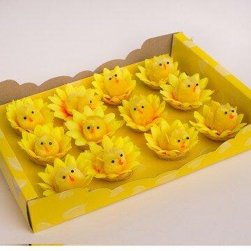 Цыплята маленькие в цветочке- упаковка 12шт