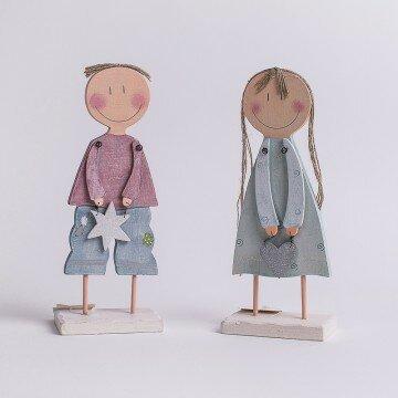 Фигурка деревянная мальчик девочка звёздочка