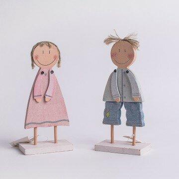 Фигурка деревянная мальчик девочка